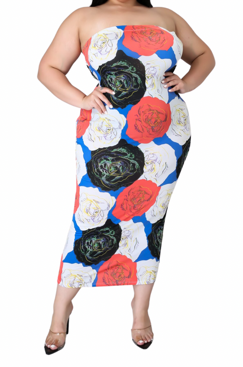 Final Sale Plus Size Strapless Tube BodyCon Dress in Multi-Color Rose Print