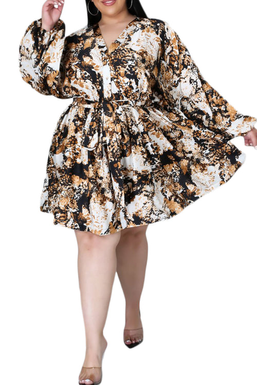 Final Sale Plus Size Tunic Dress in Gold, Black & White Print
