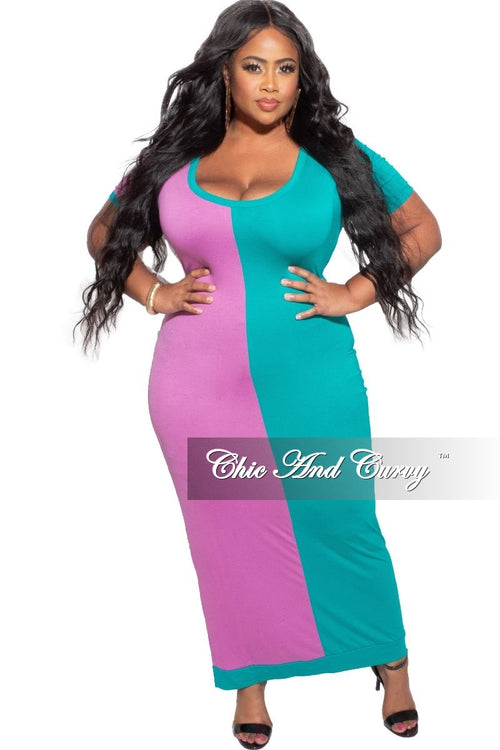 *Deal of the Day Final Sale Plus Size BodyCon Dress Midi Length in Green & Purple
