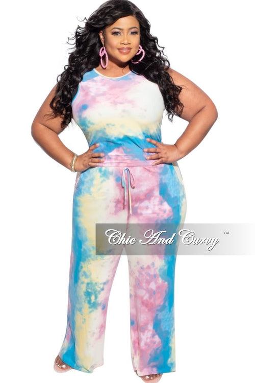 New Plus Size Cropped Jumpsuit Cotton Candy Tie Dye Print