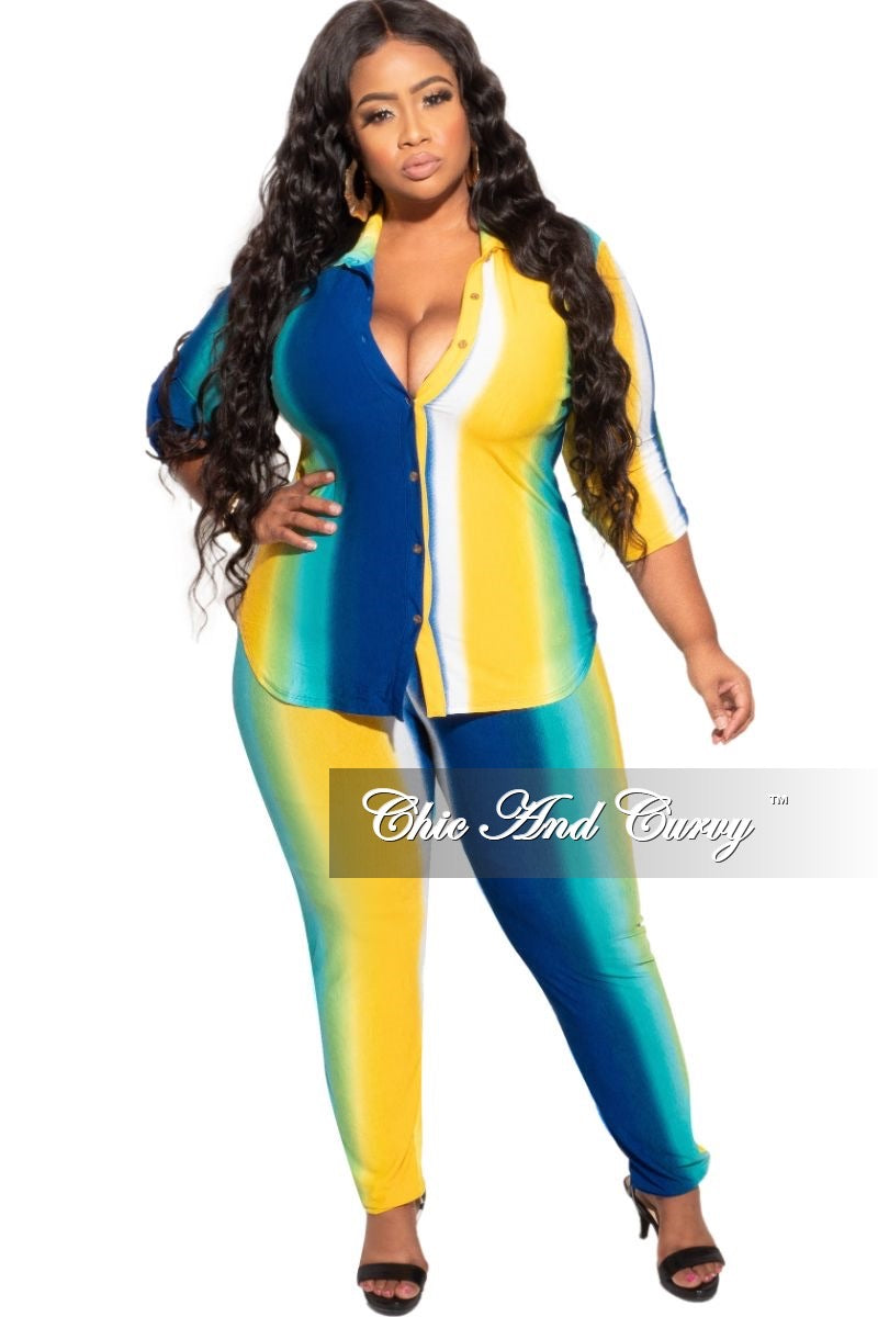 Final Sale Plus Size 2-Piece Collared Button Top and Pants Set in Royal Blue & Yellow