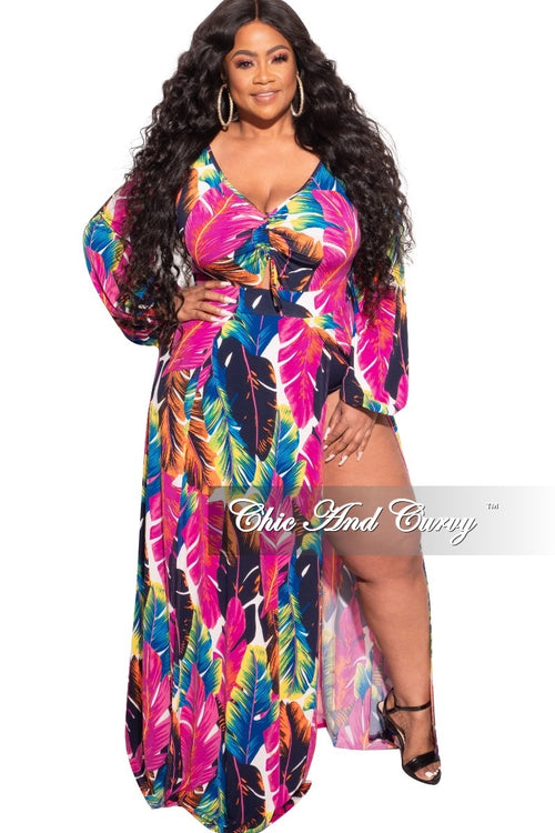 Final Sale Plus Size Ruched Maxi Dress with Double Slits in Multi-Color Leaf Print