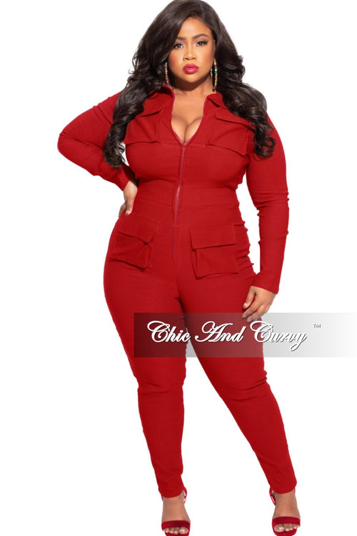 *Final Sale Plus Size Cargo Jumpsuit in Red