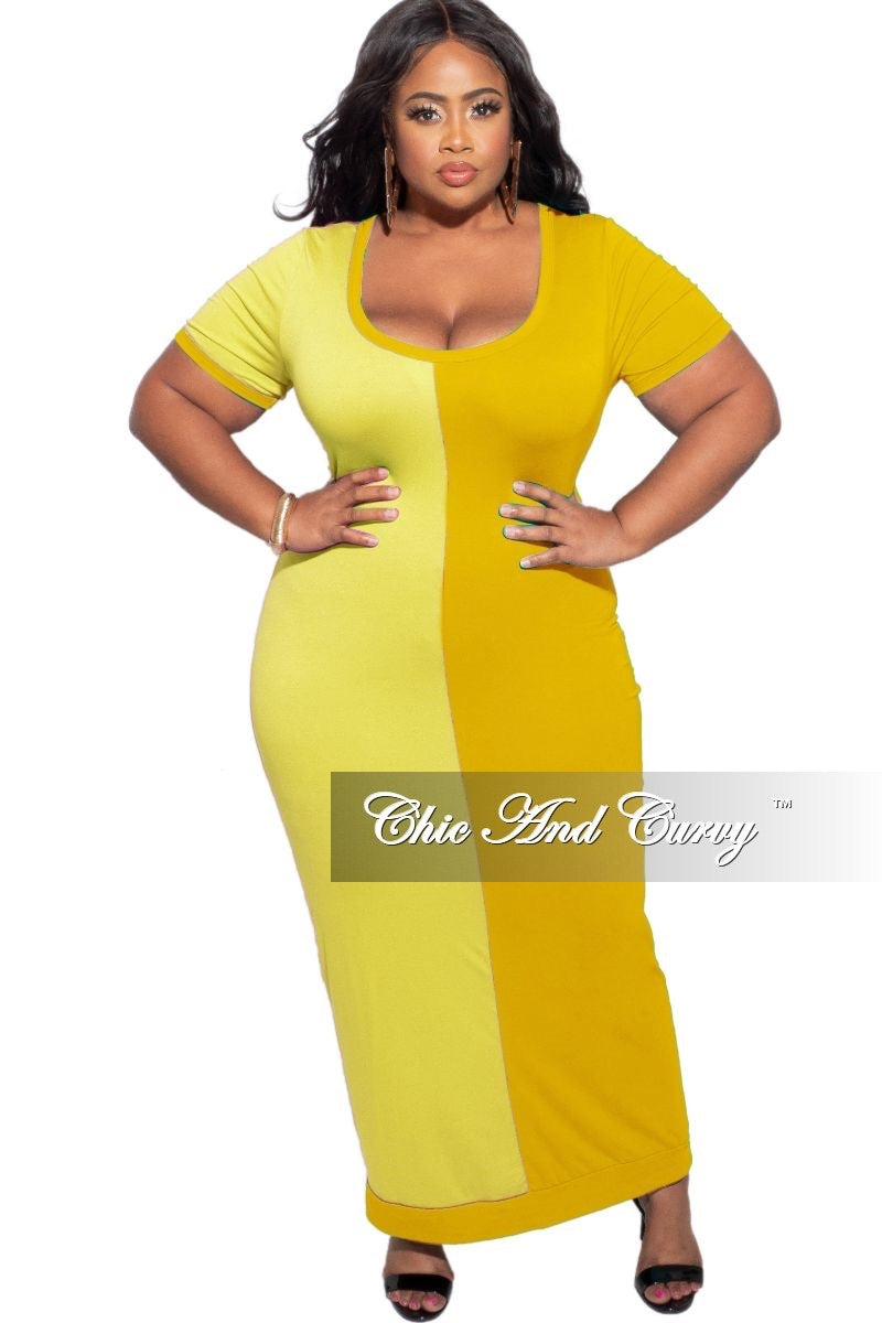 New Plus Size BodyCon Dress Midi Length in Yellow & Mustard
