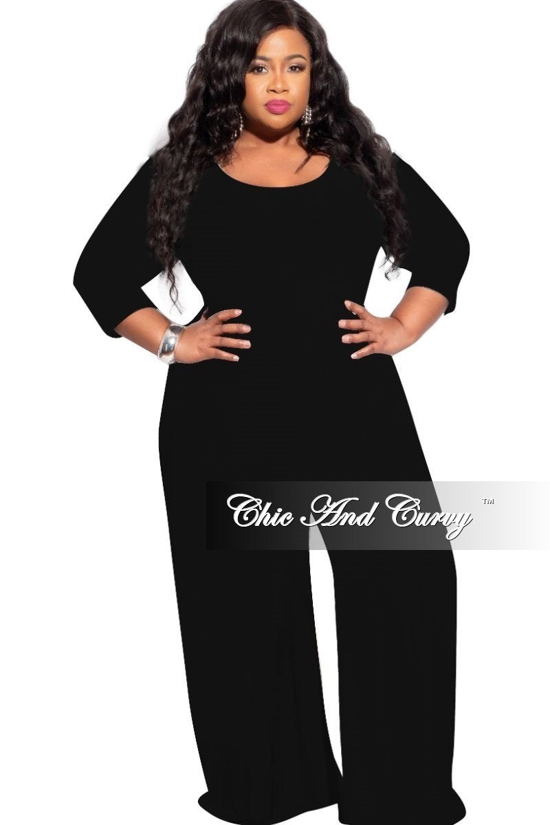 New Plus Size Round Neck Jumpsuit in Black