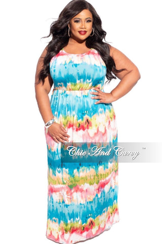 New Plus Size Tank Pocket Maxi Dress in Earth Tones