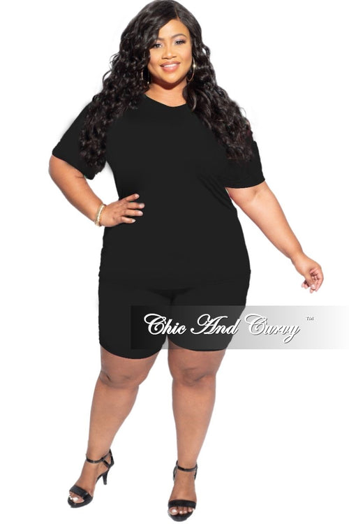 New Final Sale Plus Size 2-Piece (T-Shirt & Bermuda Short) Set in Black