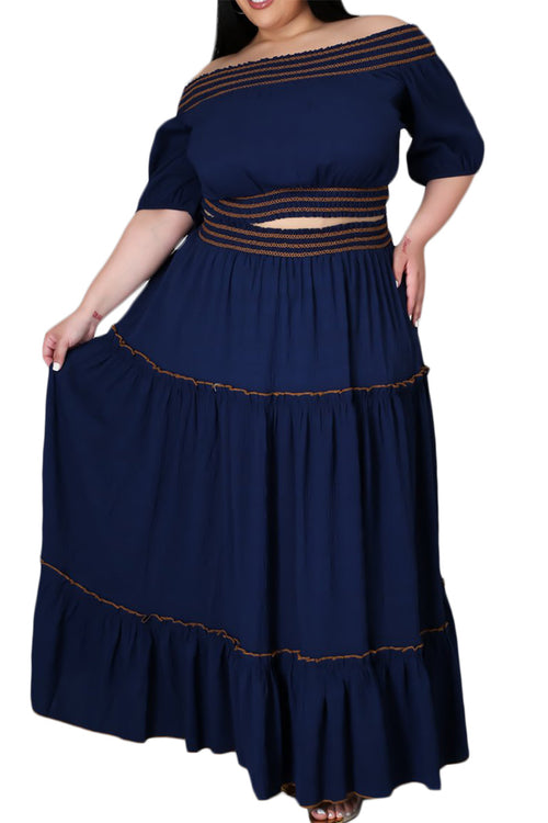 Final Sale Size 2pc Off The Shoulder Skirt Set in Navy