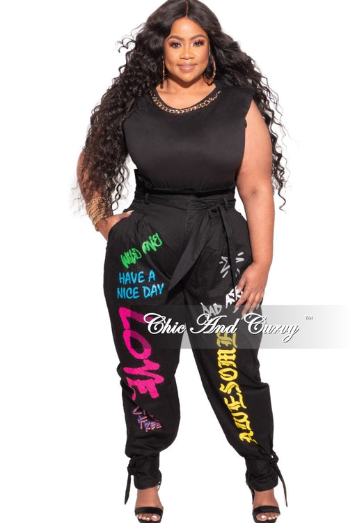 *Final Sale Plus Size Paperbag Jogger Pants with Attached Tie in  Graffiti Print