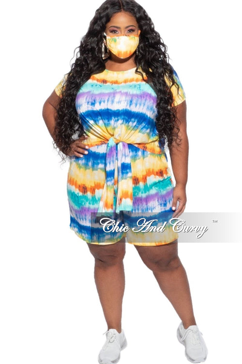 Final Sale Plus Size 3-Piece (Mask, Knotted T-Shirt & Bermuda Short) Set in Multi-Color Tie Dye Stripes