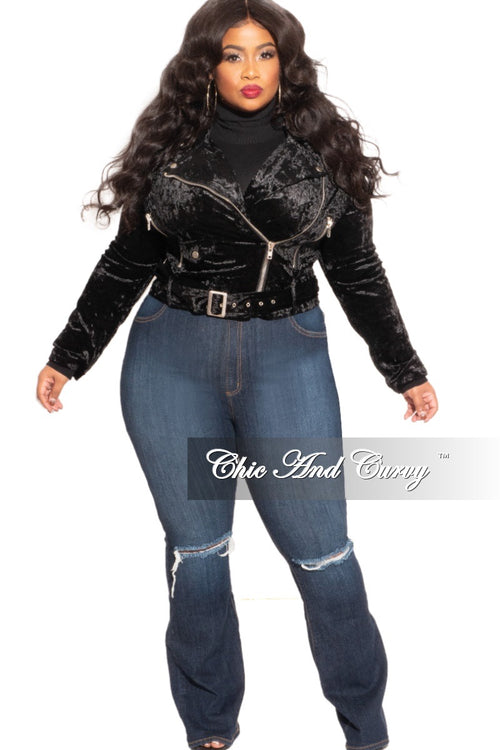 New Plus Size Velour Jacket in Black