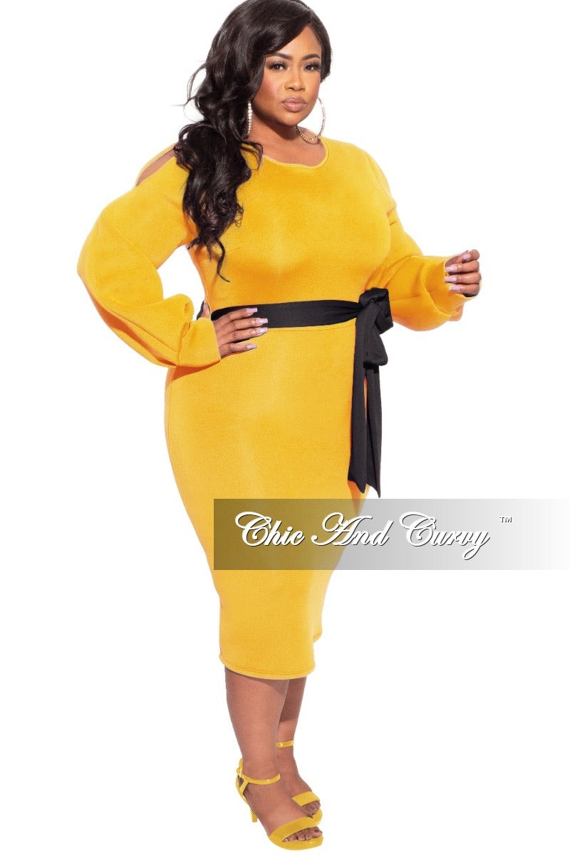 *Final Sale Plus Size Scuba Dress with Open Shoulders in Mustard with Black Belt
