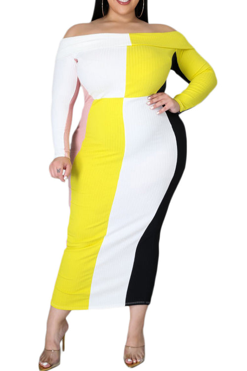 *Final Sale Plus Size Ribbed Off The Shoulder BodyCon in Multi-Color