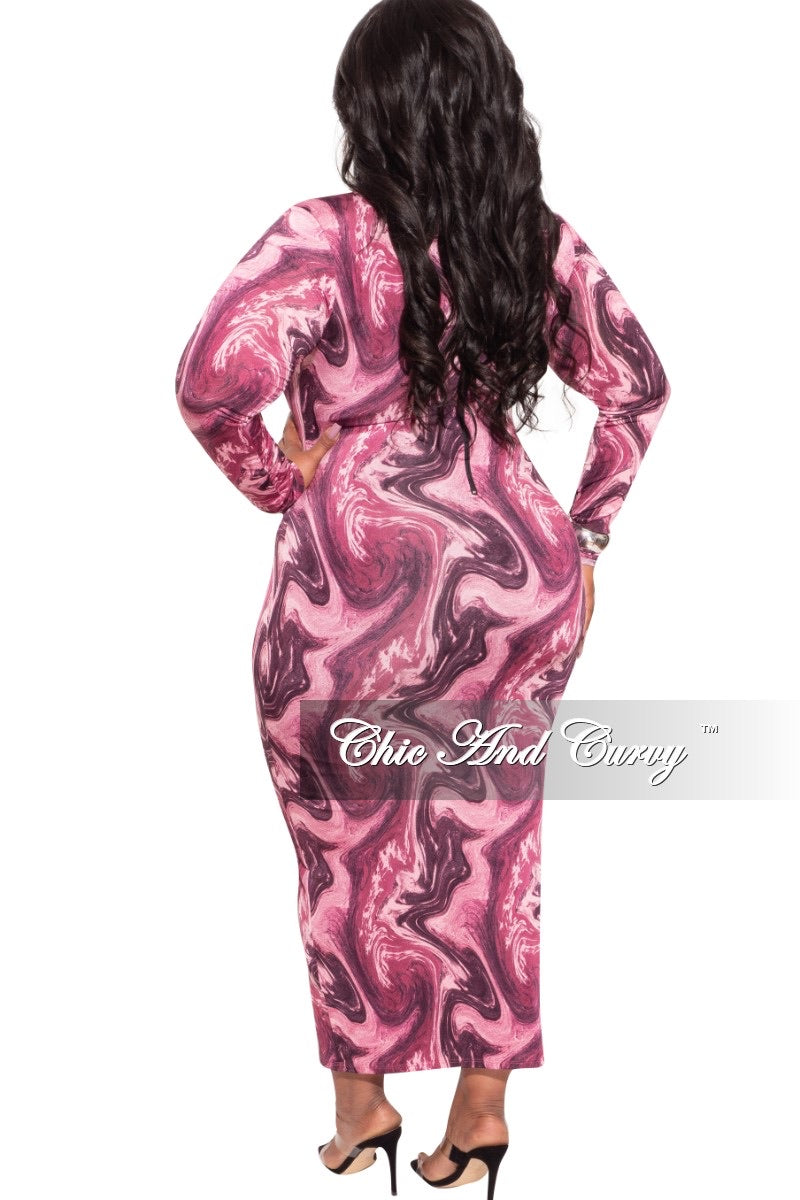 Final Sale Plus Size Bodycon Dress in Pink Abstract Print