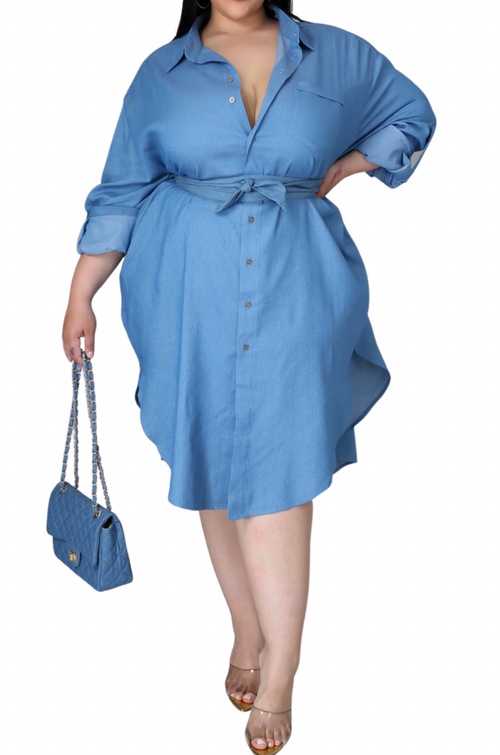 Final Sale Plus Size Shirt Dress in Blue Chambray