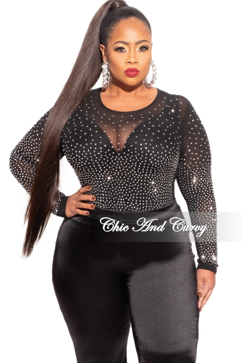 Final Sale Plus Size Bodysuit in Black with Silver Studs