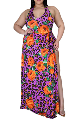 Final Sale Plus Size Halter Net Dress In Floral Print