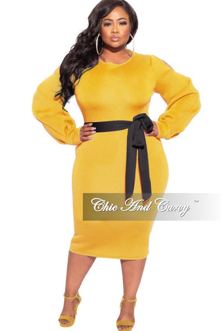 New Plus Size Rolled Sleeve V-Neck Dress in Mustard