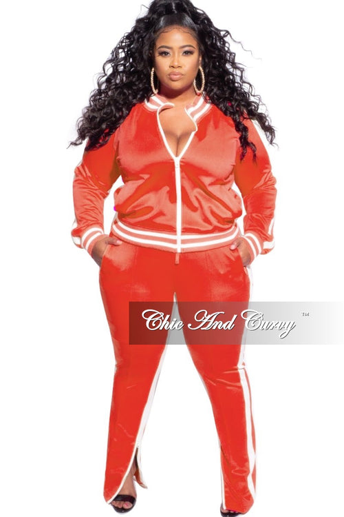 Final Sale Plus Size 2-Piece Split Shoulder Jacket and Pants Set in Orange with White Stripe