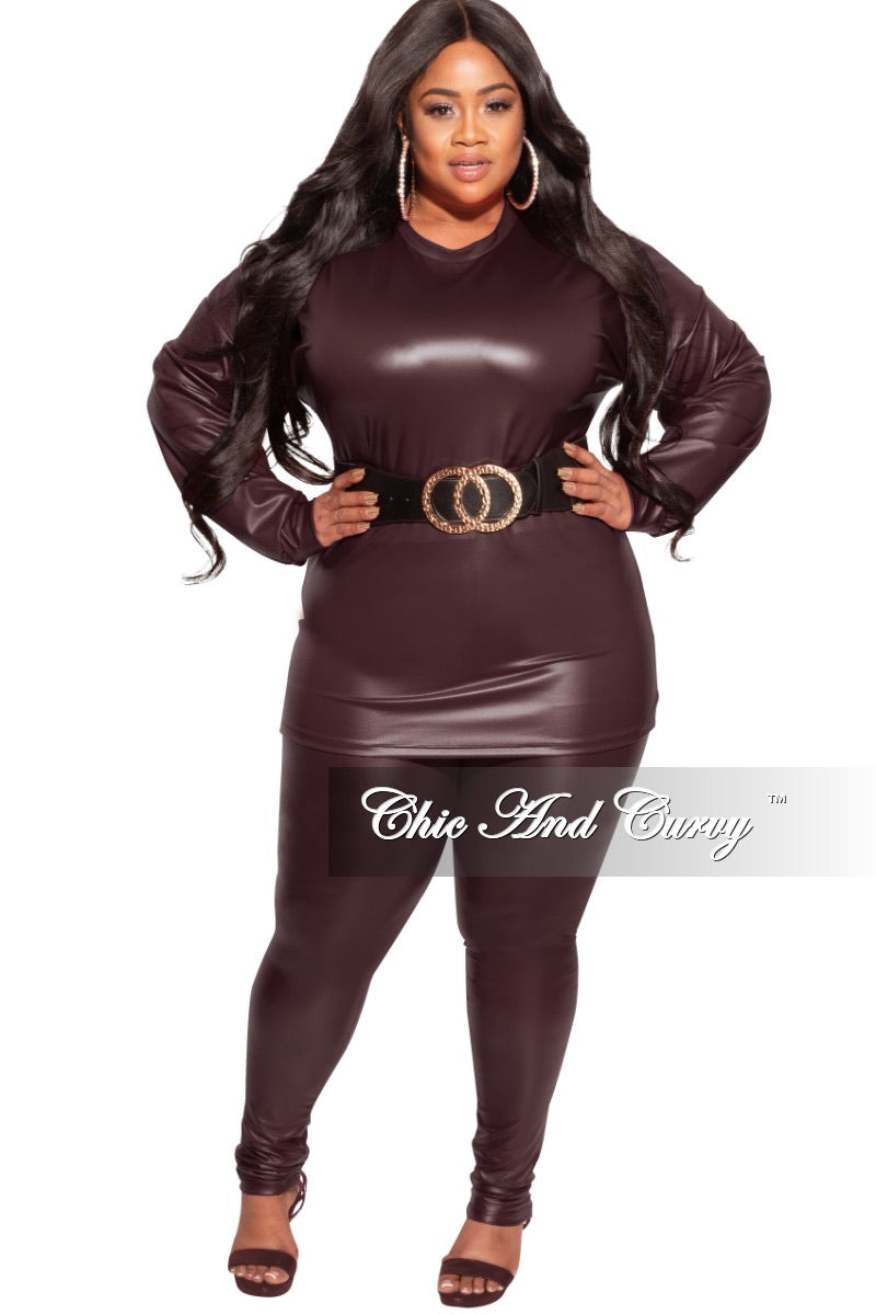 Final Sale Plus Size 2-pc Faux Leather Set in Burgundy