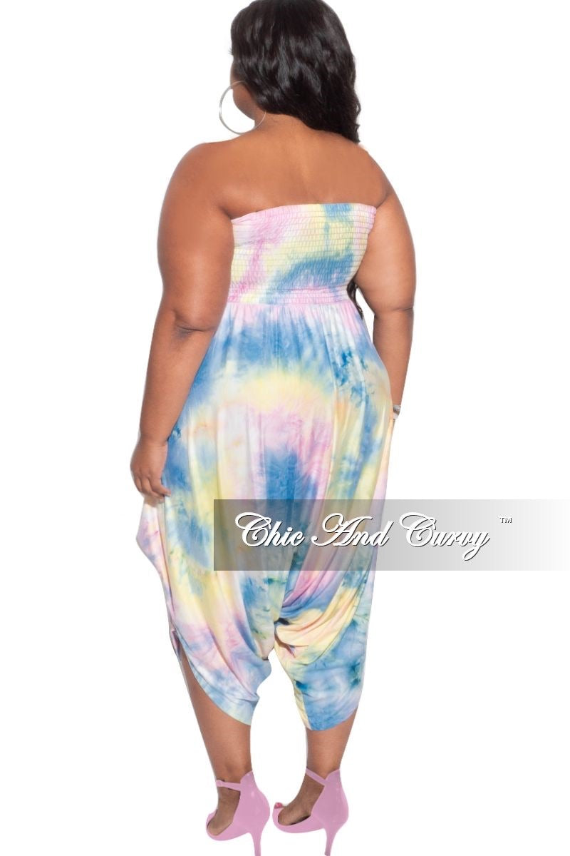 New Plus Size Strapless Smocked Harem Jumpsuit in Blue Yellow & Pink Pastel Tie Dye