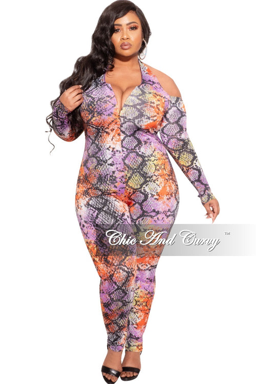 Final Sale Plus Size Halter Jumpsuit in Multi-Color Snake Print