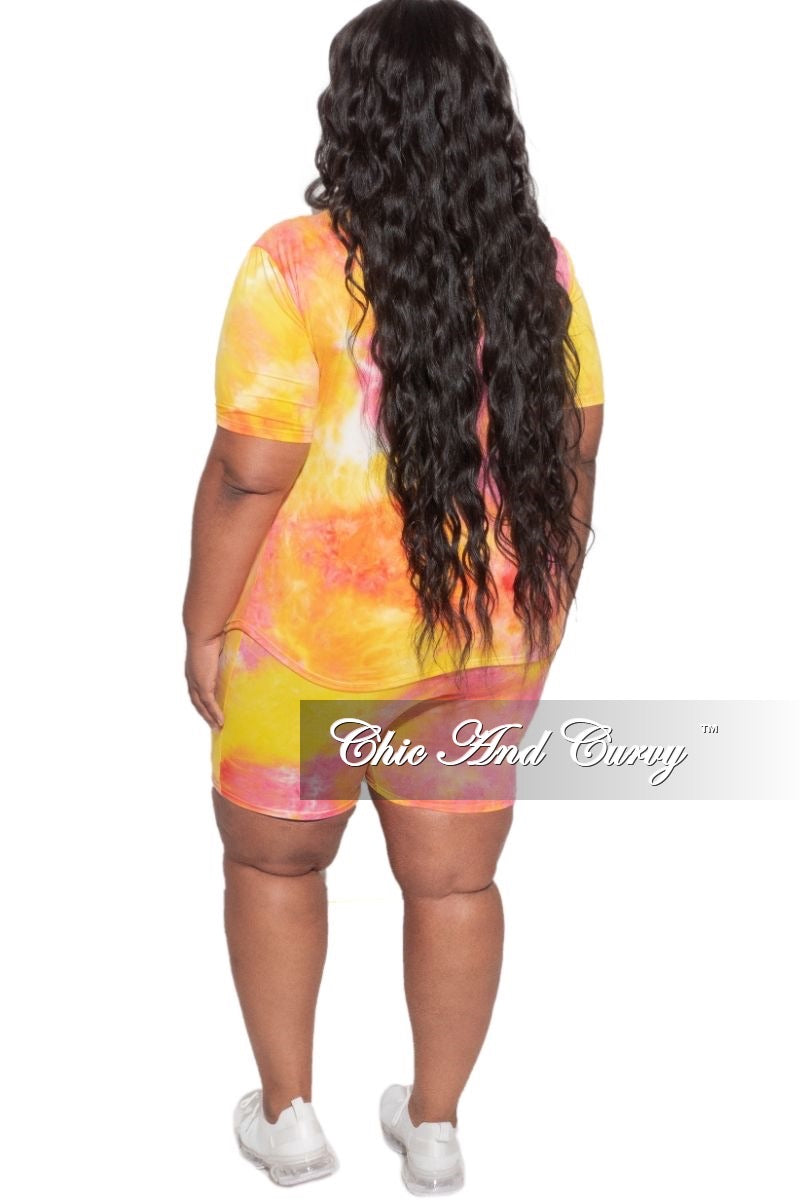 Final Sale Plus Size 2-Piece V-Neck or Round Neck T-Shirt and Bermuda Short Set in Pink & Yellow