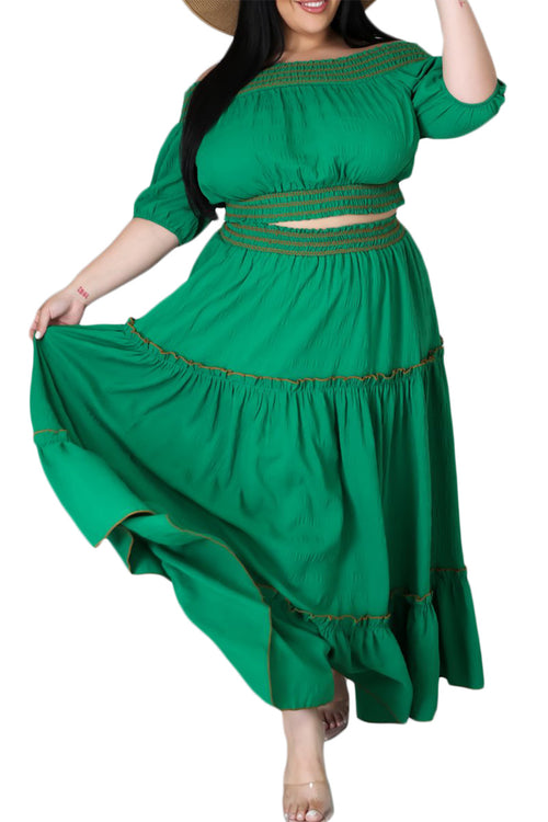 Final Sale Size 2pc Off The Shoulder Skirt Set in Green
