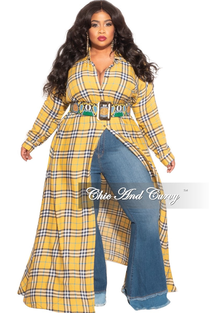 Final Sale Plus Size Collar Button Up Maxi Dress with Attached Belt in Yellow Print