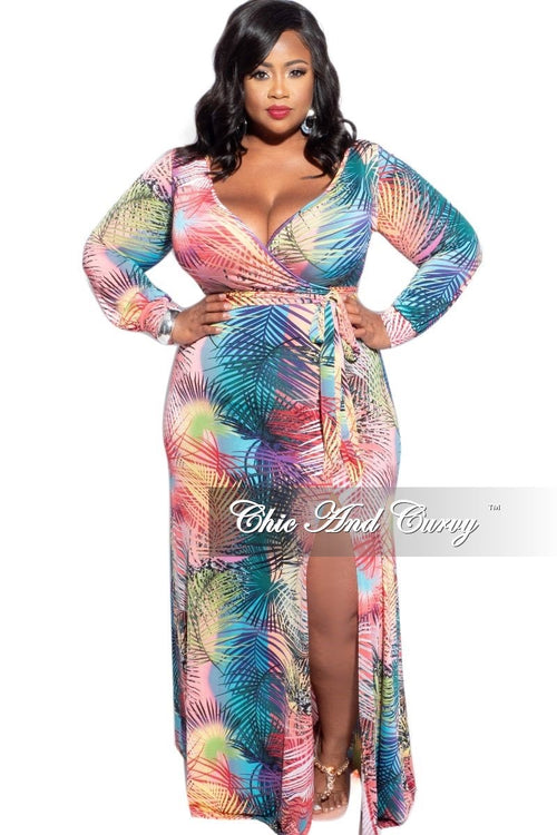 New Plus Size Faux Wrap Tie Maxi Dress in Multi-Palm Print