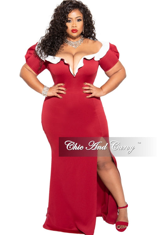 Final Sale Plus Size Off Shoulder Gown in Burgundy Ruffle top in Ivory