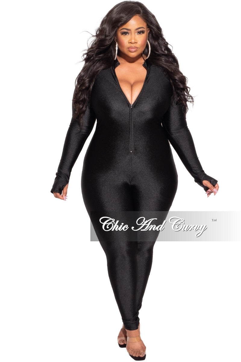 New Plus Size Spandex Long Sleeve Jumpsuit in Black