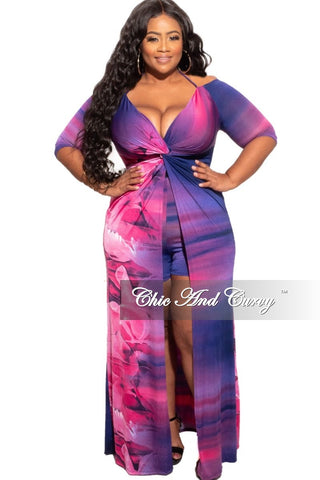 New Plus Size 2-Piece (Knotted Top & Palazzo Pants) Set in Pink/Blue Tie Dye