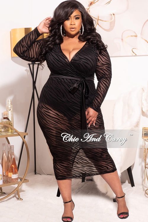 Final Sale Plus Size Tiger Print Sheer Mesh Panel Dress in Black