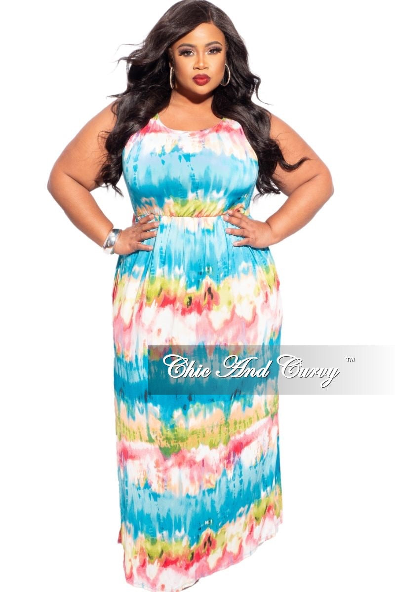 New Plus Size Sleeveless Dress in Turquoise Tie Dye
