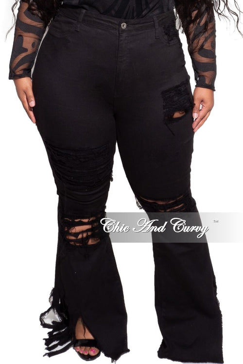 Final Sale Plus Size Distressed Wide Leg Denim Jeans in Black Love