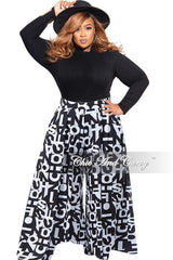 New Plus Size Palazzo Pants in Alphabet Print