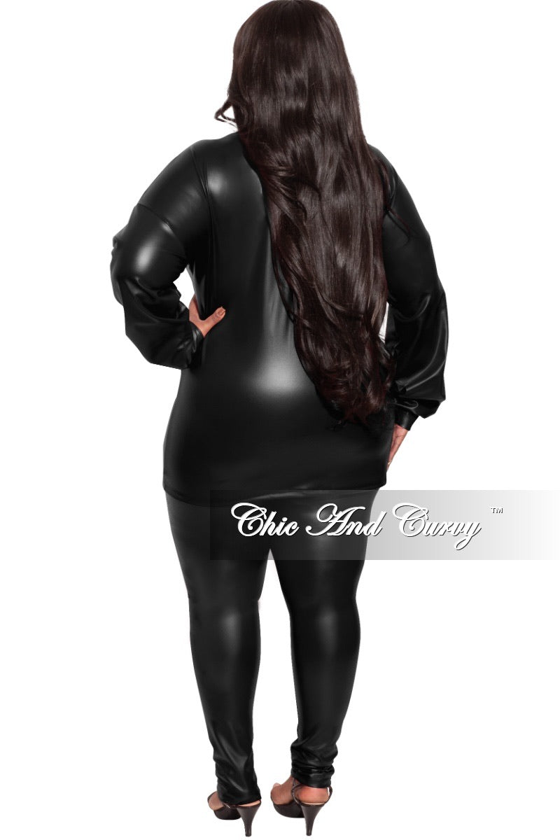 Final Sale Plus Size 2-pc Faux Leather Set in Black