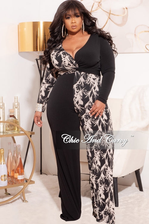 Final Sale Plus Size Half & Half Jumpsuit in Beige and Black Print