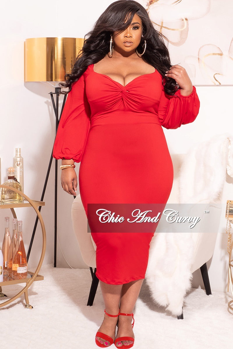 Final Sale Plus Size Off the Shoulder Sweetheart BodyCon Dress in Red