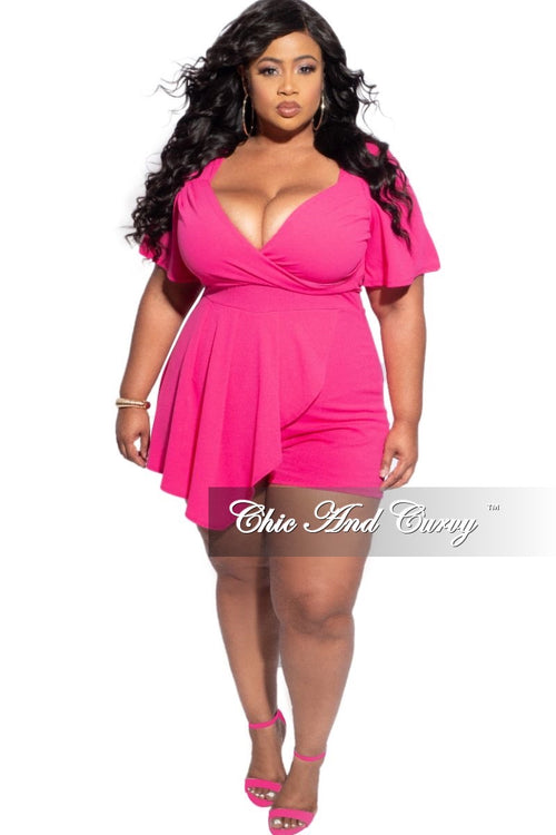 Final Sale Plus Size Romper with Front Overlay in Fuchsia
