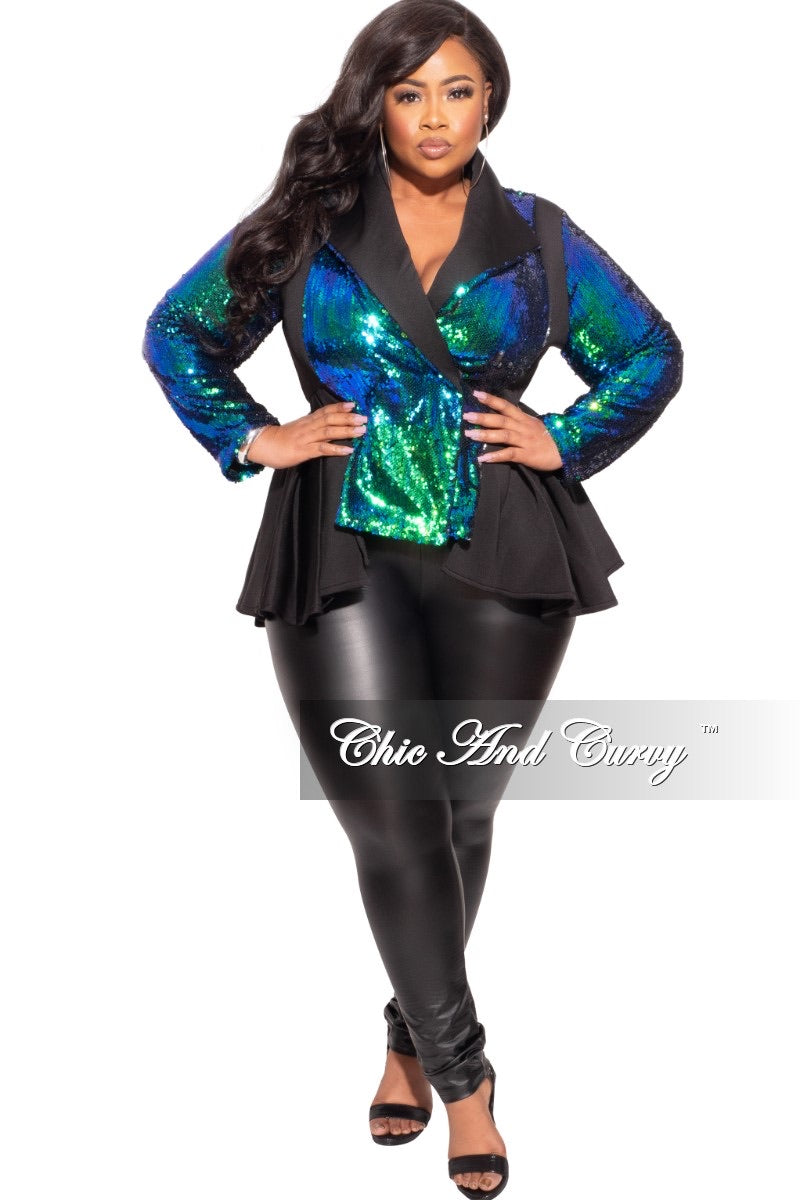 Final Sale Plus Size Scuba Peplum Jacket in Mermaid Iridescent Sequins
