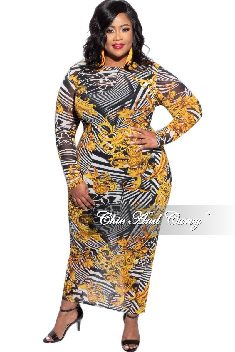 Final Sale Plus Size Sheer Mesh Dress in Gold Design Print