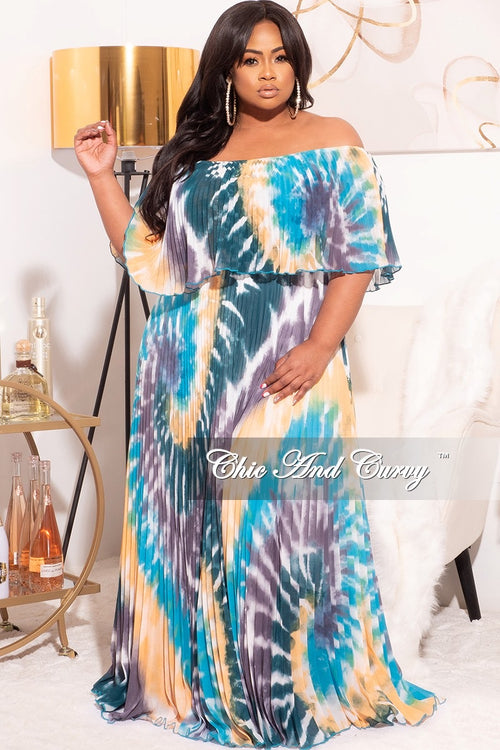 Final Sale Plus Size Off The Shoulder Maxi Dress in Teal/Mustard Multi Tie Dye
