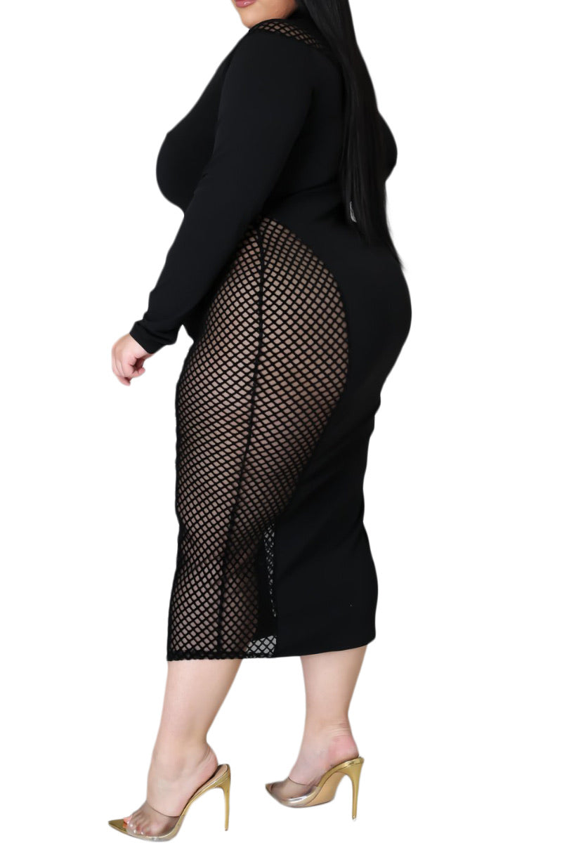 Final Sale Plus Size Bodycon Dress with Net Insets in Black