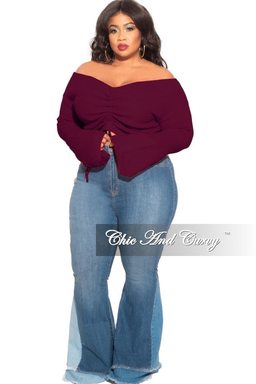Final Sale Plus Size Sweater with Ruched Drawstring Front in Plum
