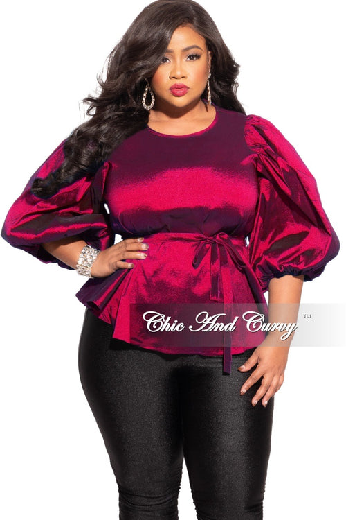 Final Sale Plus Size Balloon Sleeve Shimmer Top with Tie in Fuchsia