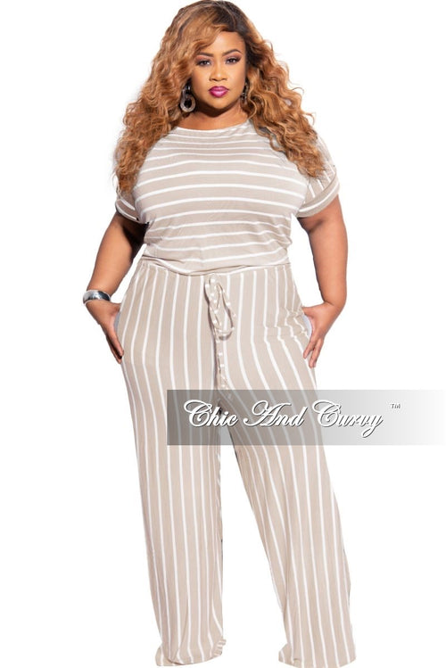New Plus Size Tie Pocket Jumpsuit in Ash Mocha with Ivory Stripes