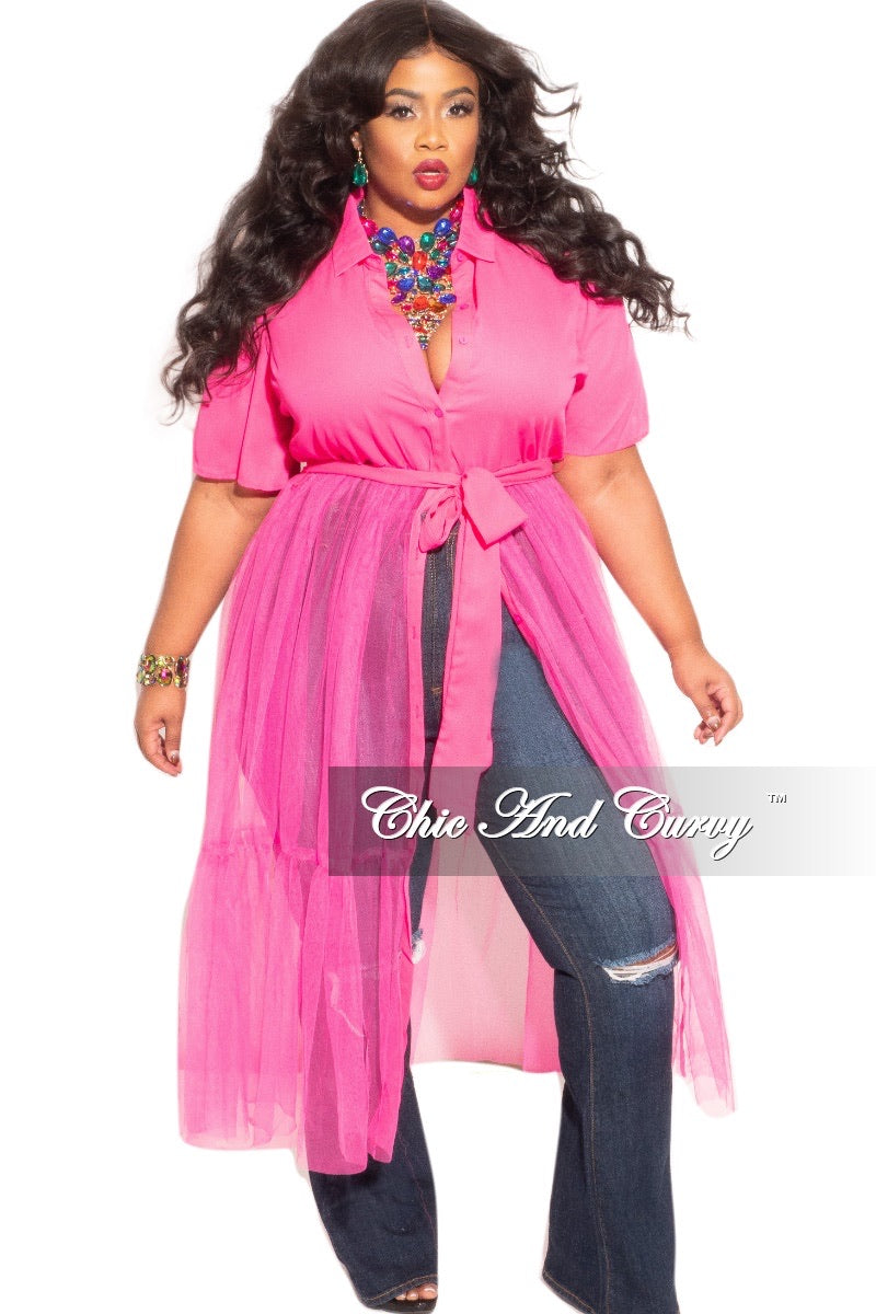 Final Sale Plus Size Top with Sheer Detail in Pink