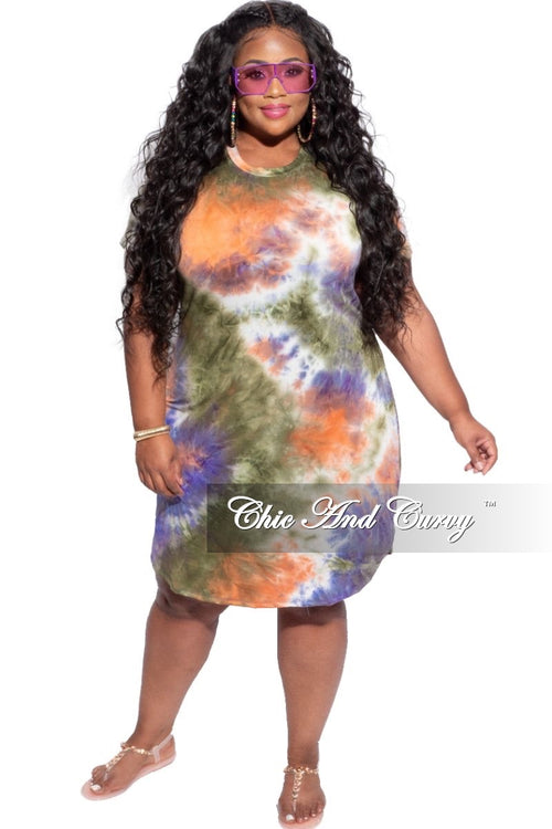 New Plus Size Short T-Shirt Dress in Purple & Rust Tie Dye